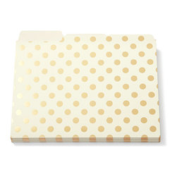 Kate Spade - Kate Spade Gold Dots File Folders - You will be filing fancy with these elegant creamy white with gold stripes file folders. The interior is a soft blush pink, right off the runways. We told you UrbanGirl is where office supplies meet fashion. The proof is in the file folder.  Third cut tab, letter size Set of 6