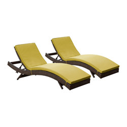 Modway Furniture - Modway Peer Chaise Set of 2 in Brown Peridot - Chaise Set of 2 in Brown Peridot belongs to Peer Collection by Modway Don't let moments of relaxation elude you. Peer is a serenely pleasant piece comprised of all-weather cushions and a rattan base. Perfect for use by pools and patio areas, chart the waters of your imagination as you recline either for a nap, good read, or simple breaths of fresh air. Moments of personal discovery await with this chaise lounge that has fold away legs for easy storage or stackability with other Peer lounges. Set Includes: Two - Peer Outdoor Wicker Chaise Chaise (2)
