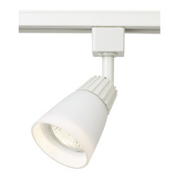 """WAC - WAC White Glass Track Bullet for Lightolier Track Systems - This WAC track lighting bullet has a clean look. This fixture has a white finish with white glass. It is ideal for retrofit or new installations. Made by WAC for use with Lightolier track lighting systems. Takes a 50 watt GU10 bulb (not included). 2 5/8"""" wide. 3 5/8"""" deep. Up to 6"""" high.  White finish track bullet.  White glass accent.  Made by WAC for use with Lightolier track lighting systems.  Uses a 50 watt GU10 bulb (not included).   2 5/8"""" wide.   3 5/8"""" long.   Up to 6"""" high."""