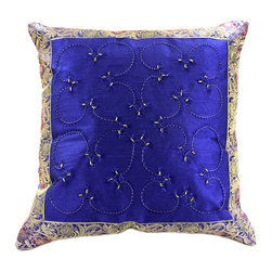 Banarsi Designs - Hand Embroidered Pillow Cover, Set of 2, King Blue - Discover our exclusive and unique Hand Embroidered pillow cover collection from Banarsi Designs. This set of pillow covers incorporates hand embroidery and features radiant and expressive tones. These decorative pillow covers measure 16x16 inches and are sold as a pair. Made in India.