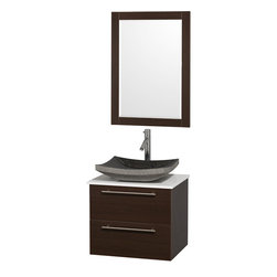 Wyndham - Amare 24in. Wall Vanity Set in Espresso w/ White Stone Top & Black Granite Sin - Modern clean lines and a truly elegant design aesthetic meet affordability in the Wyndham Collection Amare Vanity. Available with green glass or pure white man-made stone counters, and featuring soft close door hinges and drawer glides, you'll never hear a noisy door again! Meticulously finished with brushed Chrome hardware, the attention to detail on this elegant contemporary vanity is unrivalled.