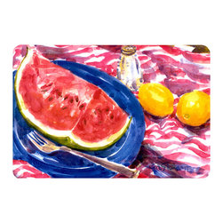 Caroline's Treasures - Watermelon Kitchen Or Bath Mat 20X30 - Kitchen or Bath COMFORT FLOOR MAT This mat is 20 inch by 30 inch.  Comfort Mat / Carpet / Rug that is Made and Printed in the USA. A foam cushion is attached to the bottom of the mat for comfort when standing. The mat has been permenantly dyed for moderate traffic. Durable and fade resistant. The back of the mat is rubber backed to keep the mat from slipping on a smooth floor. Use pressure and water from garden hose or power washer to clean the mat.  Vacuuming only with the hard wood floor setting, as to not pull up the knap of the felt.   Avoid soap or cleaner that produces suds when cleaning.  It will be difficult to get the suds out of the mat.