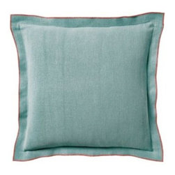 Serena & Lily - Chatham Pillow Cover Aqua - Toss it, fling it, mix and match it this is a pillow that instantly relaxes the room. The washed linen is soft and just slouchy enough to keep things comfy and casual. The unexpected twist? A pop of coral on all sides.