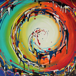 'Colorful Swirls' by Preethi Original Large Modern Painting - Painting Name: Colorful Swirls