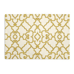 Yellow Scroll Trellis Custom Placemat Set - Is your table looking sad and lonely? Give it a boost with at set of Simple Placemats. Customizable in hundreds of fabrics, you're sure to find the perfect set for daily dining or that fancy shindig. We love it in this chic morrocan style trellis with intricate outlined scrolls of mustard on ivory cotton.