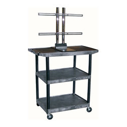 Luxor Furniture - LCD Mount AV Cart w 3 Shelves - Includes 3-outlets 15 ft. surge suppressing electric assembly. Shelves with wide top shelf with universal plasma. LCD mount holds upto 50 in. screen. Integral safety push handle molded into top shelf for sturdy grip. Shelves and legs won't stain, scratch, dent or rust. Top shelf reinforced with one metal bar. 0.25 in. retaining lip and sure grip safety pads. Cable track cord management system keeps cords neatly secured. Cabling hold in top shelf with cord guide cover. 4 in. ball bearing casters. Two casters with locking brake. 17.75 in. lower and 11 in. upper shelf clearance. Made from high density polyethylene structural foam molded plastic. Black color. 32 in. L x 24 in. W x 40.25 in. H. Warranty. Installation Manual