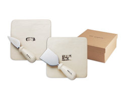 Say Cheese Plate and Knife Set - This charming set of Say Cheese plates paired with matching cheese knives by Rae Dunn make a wonderful wedding or housewarming gift.