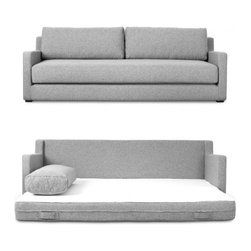 Flip Sofabed - Flip Sofabed by Gus Modern. The Flip Sofabed's unique design allows it to effortlessly convert from a stylish, modern sofa to a Queen size bed with one quick flip. It features a pre-shrunk, machine-washable cotton top sheet which easily fastens to the bed with velcro strips.