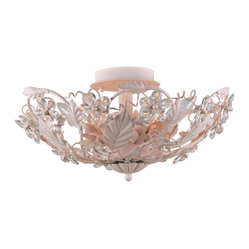 Crystorama - Abbie Semiflush Mount - Bring a bit of romantic blush to your decor. This charming fixture features a basket of pale pink leaves cradling a collection of hand-cut crystal to sparkling yet subtle effect.