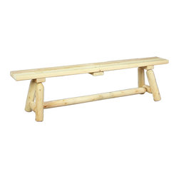 Rustic Natural Cedar - Rustic Natural Cedar 030020B Straight Wooden Bench 6' - The 6 bench comfortably seats two adults or three children. Solid cedar construction ensures years of carefree use. Cedar is also naturally resistant to decay, insect, and weather damage and, when left untreated, the creamy natural color weathers gracefully to a silvery grey.