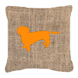 Caroline's Treasures - Dachshund Burlap and Orange Fabric Decorative Pillow Bb1088 - Indoor or Outdoor Pillow from heavyweight Canvas. Has the feel of Sunbrella Fabric. 18 inch x 18 inch 100% Polyester Fabric pillow Sham with pillow form. This pillow is made from our new canvas type fabric can be used Indoor or outdoor. Fade resistant, stain resistant and Machine washable..