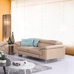 A973 Modern Peanut Premium Leather Loveseat - Equipped with 2 independent ratchet headrests and wrapped in premium grade thick italian leather in Peanut finish, the A973 Loveseat will enhance any modern living space.