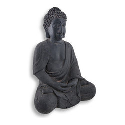 Dark Grey Fiber Stone Meditating Buddha Indoor/Outdoor Statue 12 In. - Buddha was a profoundly wise person from India on whose teachings Buddhism was founded. The word `Buddha` means `awakened one` or the `enlightened one`. This fiber stone statue depicts a peaceful, meditating Buddha. It measures 12 inches tall, 8 1/2 inches wide, 7 inches deep, and is suitable for indoor or outdoor use. This piece makes a wonderful housewarming gift, and is sure to bring a feeling of peace and serenity to all that view it.