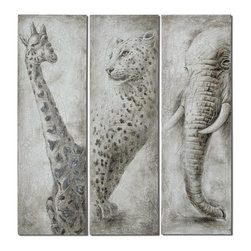 "Uttermost - ""Glimpse Of Africa"" Hand-Painted Art, Set of 3 - You don't have to travel on safari to enjoy the elegance of these three revered animals. Hang this tryptic in your home for an eclectic look. The soulful renderings of these wild African icons will fill your home with graceful beauty."