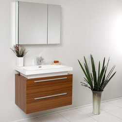 Fresca - Medio Modern Bathroom Vanity w Medicine Cabinet (Versa Brushed Nickel) - Choose Included Faucet: Versa Brushed NickelSingle Hole Faucet Mount (Faucet Shown In Picture May No Longer Be Available So Please Check Compatible Faucet List). Soft Closing Drawers. P-trap, Faucet, Pop-Up Drain and Installation Hardware Included. With overflow. Sink Color: White. Finish: Teak. Sink Dimensions: 26.5 in. x12.13 in. x3.75 in. . Medicine Cabinet: 29.5 in. W x 26 in. H x 5 in. D. Materials: MDF with Acrylic Countertop/Sink with Overflow. Vanity: 31.38 in. W x 18.75 in. D x 24 in. HStriking in its simplicity, this vanity offers modern sophistication to your bathroom. This vanity is wall mounted with two pull out drawers for storage. Fits virtually anywhere!