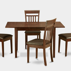 """East West Furniture - Norfolk 5Pc Set with DiningTable and 4 Capri Faux Leather Seat Chairs - Dine in luxury and traditional comfort with Norfolk dining room sets.; This dinette set offers quality design with a touch of class to add dynamic appeal to any dining room or kitchen.; A convenient 12-inch self-storage extension leaf provides extra space.; Norfolk kitchen table & chairs sets are crafted from the finest Asian solid wood.; Wood or upholstered seats offer beautiful design and comfort to this dinette set.; Table & chairs are finished in a traditional mahogany color.; Weight: 116 lbs; Dimensions: Table: 42 - 54""""L x 32""""W x 29.5""""H; Chair: 17.5""""L x 17""""W x 38.5""""H"""