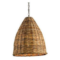 EcoFirstArt - Basket - A 6-foot chain of wrought iron swings this pendulous light fixture ahead of its bell-shaped curve. Tropical rattan strands interweave to form this wicker basket with a natural finish from the EcoFirstArt organic materials collection. Including a 100 watt Edison bulb, it is sure to illuminate your rustic interior design aspirations.