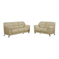 Global Furniture USA - U9103 Cappuccino Vinyl Material Three Piece Sofa Set - The U9103 sofa set works with any decor and will have you relaxing in modern comfort. This sofa set comes upholstered in a stunning cappuccino colored vinyl material. High density foam is used within the cushions for added comfort. Each piece features chromed stainless steel legs that add to the overall look of the sofa set. The sofa set includes a sofa, loveseat, and chair only.