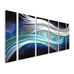Pure Art - Parallel Radiance Metal Wall Hanging Set of 6 Panels - Bring the beauty of blue to life in your home or office decor with this fun metal wall art grouping! The Parallel Radiance Metal Wall Hanging Set of 6 Panels features six individual panels that are brimming with various shades of blue color, silver, and white.  This sensationally crafted wall art panel set is huge, measuring over five feet in width!  This makes this wall art grouping ideal for hanging atop a couch or sofa, or other large furniture item.  Handcrafted metal wall art hanging is perfect for both home and office useMade with top grade aluminum material and handcrafted with the use of special colors, it is a very appealing piece that sticks out with its genuine glow. Easy to hang and clean.