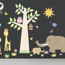 Nursery wall decals-Stickers for nursery- jungle animals decals- Removable & Reu -
