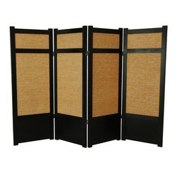 Oriental Unlimted - 4 ft. Low Jute Shoji Screen w Kick Plate (4 Panels / Black) - Finish: 4 Panels / BlackScreens may vary slightly in color. Includes kick plate that provides extra protection from scuffs plus added stability. A miniature counterpart to our popular full size Jute Shoji Screen. The low height is perfect for hiding unsightly areas, fireplaces and kids' play areas. Ideal for adding a new design element to your space. The tightly woven Jute panels offer a unique variation of the traditional rice paper screen. Shade is strong. Tightly woven jute panels to block light and provide complete privacy. Crafted from durable and lightweight Scandinavian Spruce. Panels are constructed using Asian style mortise and tenon joinery. Lacquered brass. 2-Way hinges mean you can bend the panels in either direction. Black finish. Assembly required. Each panel: 17.5 in. W x .75 in. D x 48 in. H. 4 Panels: 72 in. wide (flat). Approximately 60 in. wide (folded to stand upright)