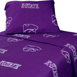 College Covers - Kansas State Wildcats Collegiate Purple 4pc Queen Bed Sheets - Features: