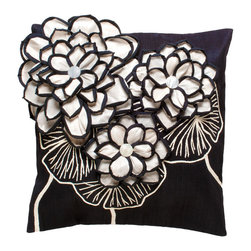 Kouboo - Decorative Pillow Cover with Kabibe Seashell, Black - This unique, hand woven throw pillow is decorated with naturally iridescent Kabibe seashell. Additionally adorned with raffia, this decorative accent is perfect for embellishing sofas or chairs, or incorporated into any bedroom decor. Woven of Abaca fabric derived from the leaves of the tree-like Abaca herb, this beautiful throw pillow adds ambiance reminiscent of the sea to add a tropical feel to any room of the home. 1 year limited warrantyKabibe seashell & Raffia on hand-woven Abaca fabricHidden zipper closureInsert not includedWeighs 0.9 lb
