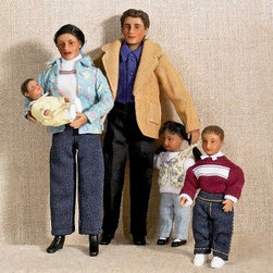Diaz Modern Family of 5 Dollhouse Miniature Set - Ideal for your contemporary-style dollhouse, the Diaz Modern Family of 5 Dollhouse Miniature Set will make the perfect inhabitants. This Hispanic quintet based on a 1:12 scale wears modern clothing. The set includes the father, Allejandro Diaz, his wife, Gabriella, their two children, Brianna and Andy, and the baby, Joey. Charming and realistic, the entire family is crafted from durable polyresin; they have dark hair and olive complexions and are clad in artfully made fabric clothing. These friendly faces are suitable for use in collector dollhouses. As this set includes small pieces, it's not recommended for children under 13. Dimensions: Man: 6H inches Woman: 5.5H inches Boy: 3.5H inches Girl: 3H inches Baby: 2.25H inches