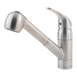 Price Pfister - Pfister G133-10SS Pfirst One Handle Pullout Kitchen Faucet - Price Pfister G133-10SS is a Pfirst Series Traditional pull out kitchen faucet Ceramic cartridge 1 or 3 Hole installation.