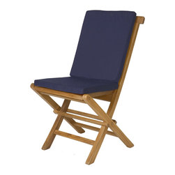 All Things Cedar - 2-Folding Chair Cushions - BLUE - Our Folding Chair  Cushions are made with Hi Density Foam covered with a soft-faced washable cotton canvas. : DIMENSIONS : WHOLE CUSHION : 16w x 34d x 2h --- SEAT : 16w x 14 1/.2 d --- BACK : 16w x 18d