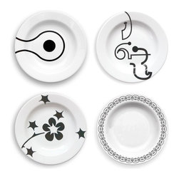 Inova Team - Modern Rim Bowl - Set Of 4 - The ultimate mix and match pattern. Four Rim Bowls, one of each pattern: Links, Letters, Flora and Ribbon. Modern, bold and fun, you can use these pieces with your existing white dinnerware...or buy this set in multiples for your next buffet dinner party.