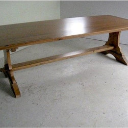 Rustic Old Oak Table With Trestle Base - Made by www.ecustomfinishes.com
