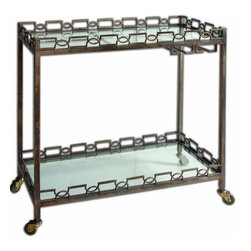 Uttermost - Uttermost 24307  Nicoline Iron Serving Cart - Forged iron with brass patina and clear, tempered glass. features stemware hanger and rolling casters.