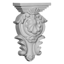 """Ekena Millwork - 5 1/2""""W x 2 3/4""""D x 9 3/8""""H Royal Leaf Corbel - 5 1/2""""W x 2 3/4""""D x 9 3/8""""H Royal Leaf Corbel. These corbels are truly unique in design and function. Primarily used in decorative applications urethane corbels can make a dramatic difference in kitchens, bathrooms, entryways, fireplace surrounds, and more. This material is also perfect for exterior applications. It will not rot or crack, and is impervious to insect manifestations. It comes to you factory primed and ready for your paint, faux finish, gel stain, marbleizing and more. With these corbels, you are only limited by your imagination."""