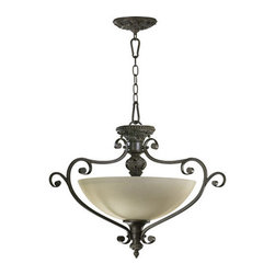 Quorum International - Quorum International 2832-26 Three Light Dual Mount Ceiling Fixture from the Ful - Three Light Dual Mount Ceiling Fixture from the Fulton CollectionA classic in its own right, our Fulton collection is an arresting design that blends elements of Old-World European styling with contemporary features. Curvaceous scrolling arms burnished with a classic bronze finish support glass or fabric shades. The addition of teardrop cut-glass pendants elevate the standard fixture to a glamorous objet d'art.Features:
