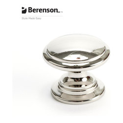 4145-1014-P  Polished Nickel Knob by Berenson Hardware - Polished Nickel cabinet knob. Return to glamor with Polished Nickel, a rich metallic finish that coordinates well with many faucets and fixtures. This finish is ideal for achieving a high end look in traditional or transitional style kitchens and baths.