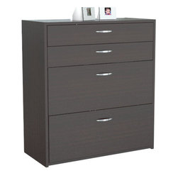 "Inval America - 4 Drawer Lateral File With Locks - This modern, durable & functional design will fit perfectly in your home or office and it blends in perfectly with many home decors and different wood furnishings & flooring.; Color: Espresso; Melamine Finish; Modern Style; P2 engineered wood; Dark wood tone; P2 engineered wood board, double-faced laminated in durable Melamine which is stain, heat and scratch resistant in elegant Espresso-Wenge.; Can be used as stand alone as a Four Drawer Storage Cabinet or with the Bookcase/Hutch BE-2704, which is sold separately.; 2 accessory drawers and 2 lateral file drawers.; Full extension glides on all file drawers!; Chrome metal hardware for a modern look.; All drawers lock for added security; 5 year limited warranty; Dimensions: 38""H x 35-7/16""W x 15-3/4""D"