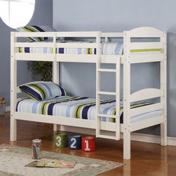 Walker Edison - Twin Over Twin Solid Wood White Bunk Bed - Add some organization to your children's room with these white bunk beds for your space-saving needs. Constructed from solid wood, these stylish contemporary design bunk beds are made durable and are meant to last. These beds can separate into two beds.