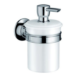 Hansgrohe - Hansgrohe Axor Montreux Wall Mounted Porcelain Soap Dispenser w/ 8oz - Axor Montreux Soap / Lotion Dispenser Porcelain Wall Mounted with 8oz CapacitySoap/Lotion Dispenser Solid brass holder Porcelain dispenser 8 oz. capacity