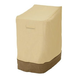 Classic Accessories Stackable Chair Cover - Pebble - Stack and protect up to six patio chairs under the Stackable Chair Cover - Pebble. This cover slides right over your stack of chairs and has a handsome pebble and sage design. Its click-close buckles and elastic hem cord with adjustable toggle ensure a secure fit. Air vents reduce moisture inside and padded handles make it easy to take off and put on. This cover is made of weather-resistant polyester fabric with durable PVC backing. About Classic AccessoriesFounded from small beginnings, Classic Accessories has grown in the past 30 years from a small basement operation in Seattle's Roosevelt neighborhood making seatbelt pads and steering wheel covers, to a successful and expanding company now making a wide variety of products from car to boat covers and much more. Innovative, stylish designs define products that are functional and made to last. From little details to the largest innovations, Classic Accessories is always moving forward and looking to provide cover and storage solutions to a clientele that has a passion for the outdoors, from backyard gatherings to exciting camping trips, Classic Accessories provides the products that keeps your equipment looking great all season long.