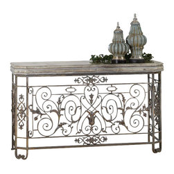 Uttermost - Uttermost Kissara Metal Console Table - Kissara Metal Console Table by Uttermost An Open, Forged Metal Base With Curled Flourishes And Leaf Details In Warm, Tarnished Silver With The Tabletop Highlighted In A Silvery Mercury Patina. Matching Mirror Is Item #12865.
