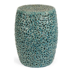 "IMAX - Tobias Cutwork Garden Stool - The Tobias cutwork garden stool is skillfully handcrafted from ceramic and finished in a turquoise glaze.  Item Dimensions: (20""h x 14.75""d)"