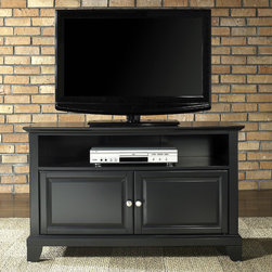"""Crosley - Newport 42"""" TV Stand - Features: -Raised panel doors.-Adjustable interior shelf for storing electronic components, gaming consoles, DVDs and other items.-Adjustable levelers in legs.-Recommended TV Type: Flat screen.-TV Size Accommodated: 42"""".-Powder Coated Finish: No.-Gloss Finish: No.-Material: Hardwood and veneers.-Solid Wood Construction: No.-Distressed: No.-Exterior Shelves: Yes -Number of Exterior Shelves: 1.-Adjustable Exterior Shelves: No..-Drawers: No.-Cabinets: Yes -Number of Cabinets: 1.-Number of Doors: 2.-Door Attachment Detail: Pin hinge.-Interchangeable Panels: No.-Magnetic Door Catches: Yes.-Cabinet Handle Design: Knob.-Number of Interior Shelves: 1.-Adjustable Interior Shelves: Yes..-Scratch Resistant : No.-Removable Back Panel: No.-Hardware Finish (Finish: Black): Brushed nickel knobs, steel hardware.-Hardware Finish (Finish: Classic Cherry, Vintage Mahogany): Antique brass knobs, steel hardware.-Casters: No.-Accommodates Fireplace: No.-Fireplace Included: No.-Lighted: No.-Media Player Storage: Yes.-Media Storage: No.-Cable Management: Hole in back for wires.-Remote Control Included: No.-Batteries Required: No.-Weight Capacity: 200 lbs.-Swatch Available: No.-Commercial Use: No.-Collection: Alexandria.-Eco-Friendly: No.-Recycled Content: No.-Lift Mechanism: No.-Expandable: No.-TV Swivel Base: No.-Integrated Flat Screen Mount: No.-Hardware Material: Steel.-Product Care: Use a soft clean cloth that will not scratch the surface when dusting. Use of furniture polish is not necessary. Should you choose to use a furniture polish, test in an inconspicuous area first. Use of solvents of any kind could damage your furniture's finish. To clean, simply use a soft cloth moistened with lukewarm water, then buff with a dry soft clean cloth..Specifications: -ISTA 3A Certified: Yes.-FSC Certified: No.-General Conformity Certified: No.-CSA Certified: No.-EPP Certified: No.Dimensions: -Overall Height - Top to Bottom: 26"""".-Overall Width - Side to Side: 42"""".-"""