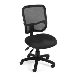 OFM - OFM Mesh Comfort Series Ergonomic Task Chair in Black - OFM - Office Chairs - 130A05 - Get contemporary style and all-day comfort with OFM's Modern Mesh Ergonomic Task Chair 130. The back features built-in lumbar support and breathable mesh gives long-term comfort. Plus the mesh and seat fabric are it stain resistant so the chair keeps its