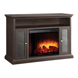 """Riley Media Cabinet & Electric Fireplace Heater With LED Flame and Shelving - The Pleasant Hearth 238-04-48M Riley Media Cabinet and Electric Fireplace Heater is the ideal solution for warmth, ambiance and an updated d_cor in lofts, apartments, living rooms, basements and other areas of your home or office. Constructed from solid wood with a beautiful espresso finish, this easy to assemble unit has a fireplace and media center dual-functionality to provide storage shelves, a mantle to hold up to a 48-inch flat panel TV, heat and a glowing log atmosphere without the mess and hassle that come from traditional fireplaces. The 23-inch firebox uses energy efficient LEDs to provide the fire effect and features (3) realistic flame settings, (10) heat temperature settings and a randomly glowing ember bed that can be adjusted by the included multi-functional remote control. The 4,600-BTU, 1,350-watt fan-forced air heater will warm a room up to 400-square feet in size without the need for venting or construction. A temperature display with LCD digital controls and (10) different timmer settings are also located on the panel. The media cabinet features over 46-inches of mantle space, 7-inch high media shelf and (2) glass door side cabinets with adjustable shelving. The Riley cabinet and fireplace can be operated with or without the heater, uses green electric power from any standard outlet and can reduce your monthly energy costs. The cabinet is designed for """"screwdriver only"""" easy assembly and has a cord management channel. This stunning focal point will fit any lifestyle and provide the family and friends with the flames, ambiance and warmth your room's been missing. This unit measures 46.75-inches wide, 32.9-inches high, 18-inches deep, and weighs 93.05-pounds. The Pleasant Hearth 238-04-48M Riley Media Cabinet Electric Fireplace Heater comes with a 1-year limited warranty. GHP Group, Inc. is an industry leader in manufacturing electric fireplaces, fireplace doors and acces"""
