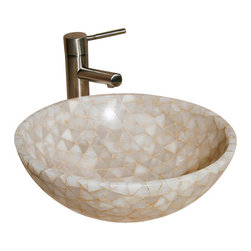 """The Allstone Group - L-VMR-T-16W Polished #2 Vessel Sink - Natural stone strikes a balance between beauty and function. Each design is hand-hewn from 100% natural stone.  Allstone mosaic vessel sinks are our only product that is not carved from one single piece of stone.  Onyx was used in Egypt as early as the Second Dynasty to make bowls and other pottery items. Onyx is also mentioned in the Bible at various points, such as in Genesis 2:12 """"and the gold of that land is good: there is bdellium and the onyx stone"""", and such as the priests' garments and the foundation of the city of Heaven in Revelation."""
