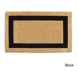 None - Heavy Duty Coir Single Picture Frame Doormat - Naturally harvested coir fibers are hand woven in traditional looms and then sheared to create a dense 1-3/4 in. pile that help trap dirt and moisture and clean shoes. Elegant designs are hand stenciled on the mat using fade resistant dyes.