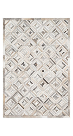 Loloi Rugs - Loloi Rugs Promenade Collection Rug, Ivory and Gray - Hand stitched in India of 100% authentic cowhide, Promenade is a contemporary version of the timeless cowhide rug. The modern collection offers patterns that range in graphic designs with a strong contrast of light and dark hides. And the durable cowhide fiber makes Promenade ideal for your most frequented rooms.