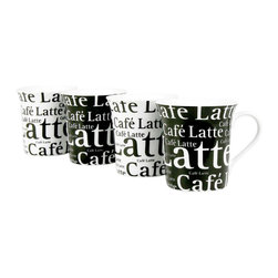 Konitz - Set of 4 Assorted Cafe Latte Mugs Writing on Black and White - This sleek coffee mug is sure to wow you! Travel mug features brown ombr� design and a silicone lid.