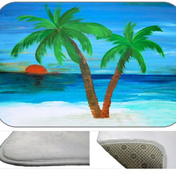 Two Palms Plush Bath Mat, 20X15 - Bath mats from my original art and designs. Super soft plush fabric with a non skid backing. Eco friendly water base dyes that will not fade or alter the texture of the fabric. Washable 100 % polyester and mold resistant. Great for the bath room or anywhere in the home. At 1/2 inch thick our mats are softer and more plush than the typical comfort mats.Your toes will love you.